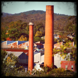 Twin Chimneys of Thompsons former foundry in the background and the Old Woollen Mill Castlemaine
